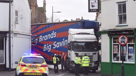 Police attend the scene of Szauter's lorry which blocked Northgate Street in Ipswich. Pic: Archant