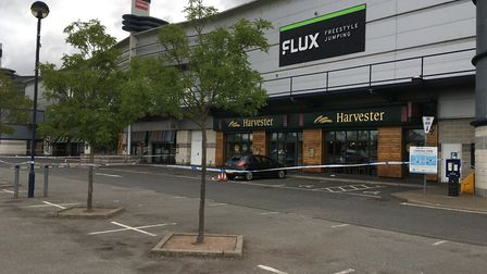 The cordon in Cardinal Park, Ipswich. Picture: JASON NOBLE