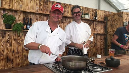 Neil Stuke, left, and Tim Sheehan in the Aspall Kitchen at Jimmy's Festival. Picture: WAYNE SAVAGE