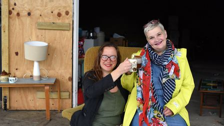 Alexia McEwen and Anna Matthews at the new premises for La Tour Cycle Cafe. Picture: SARAH LUCY BRO