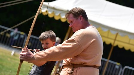 . Owen Free and Mark Bloom at one of the Christchurch park archery workshops last summer. Picture: S