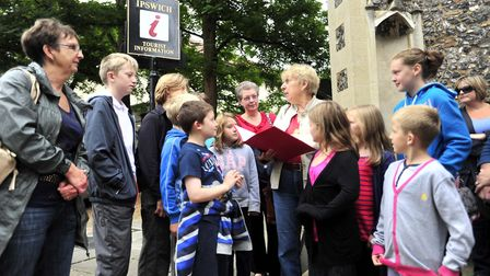 The First of The Horrible History tours of Ipswich with guide Elaine Everitt leaving from The Ipswic