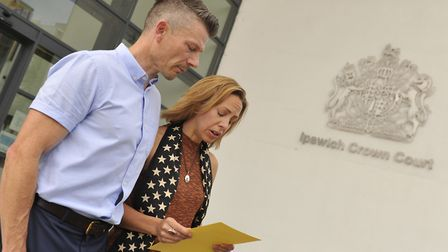 Ian Barker supports his wife Joanne as she read out a statement outside Ipswich Crown Court after a