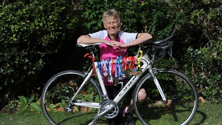 Heather Guttery with her bike and medals. Picture: SARAH LUCY BROWN
