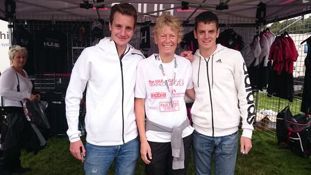 Heather Guttery with triathlon stars Alistair and Jonathan Brownlee Picture: CONTRIBUTED