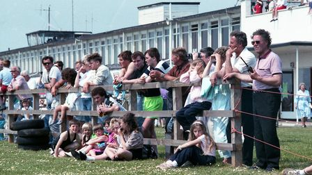 Spectators line the airfield to get the best view of the races