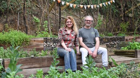 Jo Brooks with her dad Rob Brooks at Brickmakers Wood project before it was demolished by vandals.