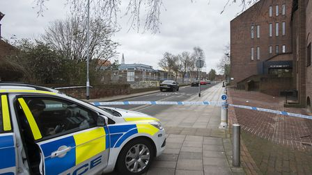Police at the scene of the previous sex attack in Rope Walk, Ipswich. Picture: ASHLEY PICKERING