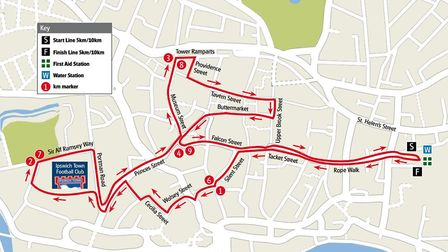 The route of the Twilight races around Ipswich town centre