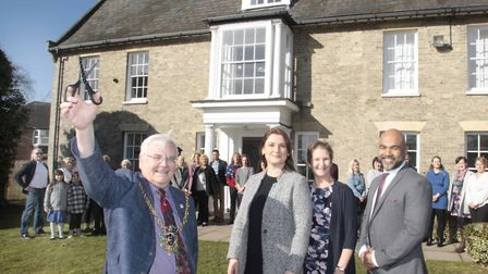 Former Ipswich mayor Roger Fern opening The White House, with dietician Mary McDermott, Dr Sachindev