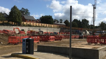 Piling work at the Crown Car Park in Ipswich town centre. Picture: PAUL GEATER