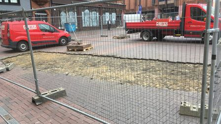 Excavation work on the Cornhill started on Monday - but was starting to be filled in on Tuesday! Pic
