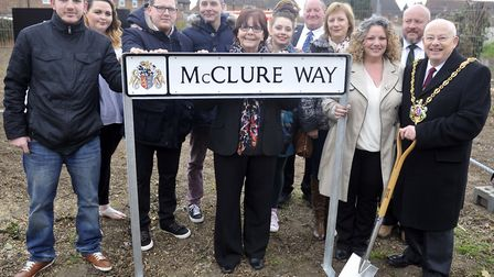 The family of Aaron McClure, who died in Afghanistan, joined then-Ipswich mayor Bill Quinton at the