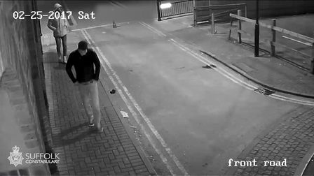 Another CCTV image showing Constantinescu and Gheorghe. Picture: SUFFOLK CONSTABULARY
