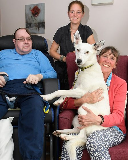 Lily with owner, Anne Goad, Brian Mellowship and Sophie Wellum-Mayes. Picture: CLIVE TAGG