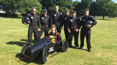 The Black Ice team from One sixth form in Ipswich took part in the downhill soap box race challenge.