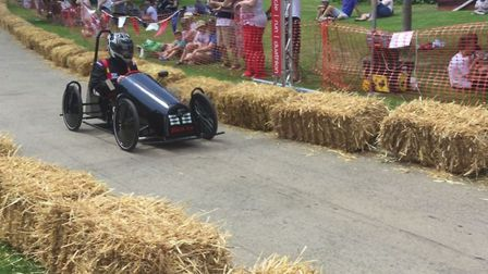 The Black Ice soap box kart made by technology students at One sith form in Ipswich. Picture: ONE