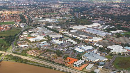 An aerial image of the Ransomes Europark area. Picture: MIKE PAGE