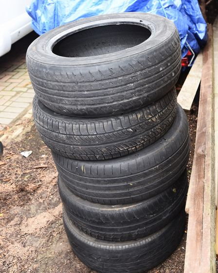 The five dumped tyres in Camberley Road, Ipswich. Picture: GREGG BROWN