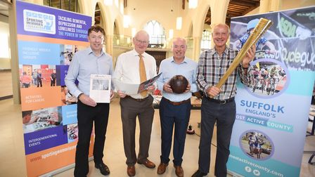 The launch of Sporting Memories Network Suffolk. Left to right, Tony Jameson-Allen, Tony Goldson, Jo