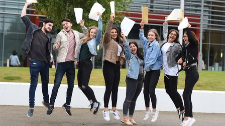 Students receive their A-level results at One sixth form. Picture: GREGG BROWN