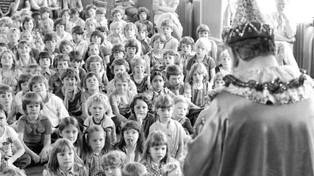 Pupils had an unusual character hosting their assembly at Rose Hill Primary School in 1979