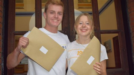 Tom McAllister and Sophie Coe celebrate their A-level results at Ipswich School. Picture: MOIRA BRYA