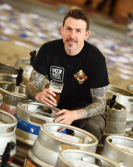 Greg Cooper from Beer&Co preparing for the Saints Maritime Beer & Cider Festival. Picture: GREGG BRO