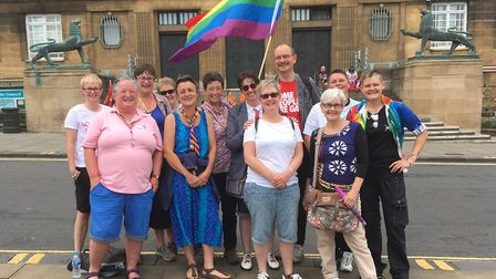 Sandy Martin at Norwich Pride with other festival-goers from Suffolk