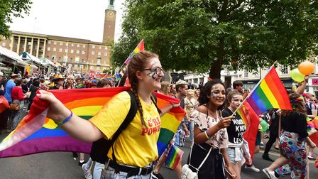 Thousands of people march through the city centre to celebrate Norwich Pride. Picture: NICK BUTCHER