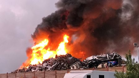 Huge fire at Great Blakenham recycling plant. Picture: STEPHEN MEADOWS