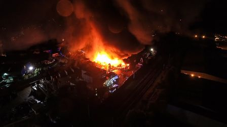 Sackers inferno from the sky. Picture: JAMES HAZELL/SKY CAM EAST