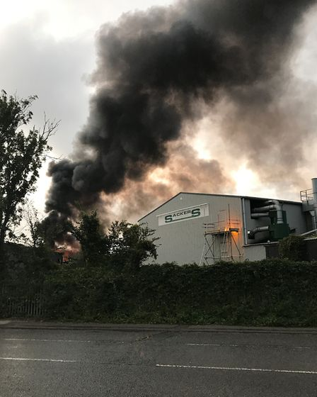 Huge fire sparks at Great Blakenham recycling centre. Picture: STEPHEN MEADOWS