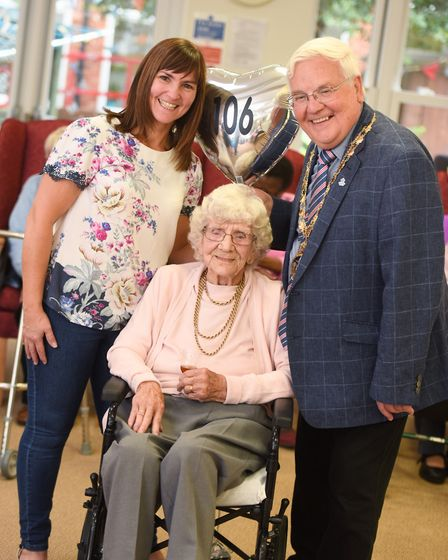 Muriel Barker from Ipswich is celebrating her 106th birthday today. Left to right, granddaughter Jul