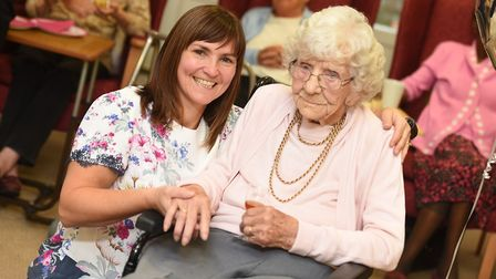 Muriel Barker from Ipswich is celebrating her 106th birthday today. Pictured here with Granddaughter