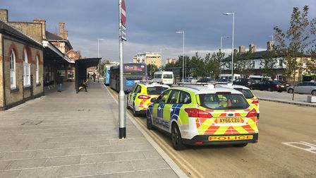 There was a heavy police presence outside Ipswich Railway Station this morning. Picture ADAM HOWLETT