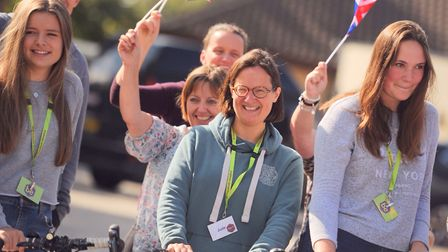 Family and friends gathered to wave off the riders at St Elizabeth Hospice. Picture: SARAH LUCY BRO