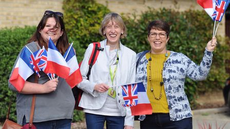 Charlotte Flynn, Sue Voules and Nykki Stafford send off the riders. Picture: SARAH LUCY BROWN