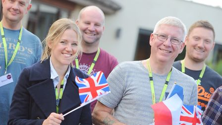 Crowds waved flags as the riders left for their 300 mile cycle challenge. Picture: SARAH LUCY BROWN
