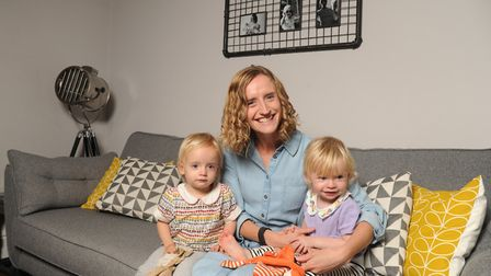 Heather Sheehan with her twins Matilda and Connie. Picture: SARAH LUCY BROWN