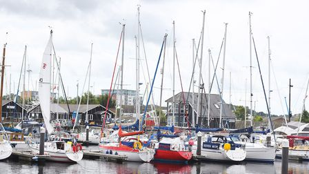 Ipswich Marina packed with a variety sailing boats. Picture: GREGG BROWN