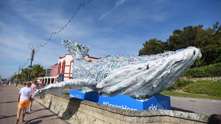 The whale represents the amount of plastic that ends up in the ocean every second. Picture: GREGG BR