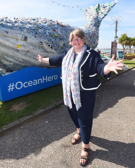 MP Therese Coffey pictured with the whale. Picture: GREGG BROWN