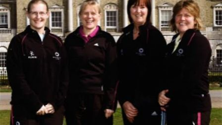 Dawn Blake (second right) with the PE department at Ipswich High School for Girls. Picture: IPSWICH