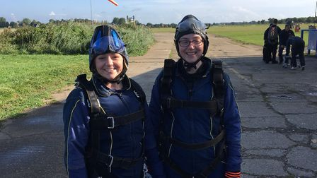 Ellie Griss and Sarah Barber before their parachute jumps. Picture: SARAH BARBER