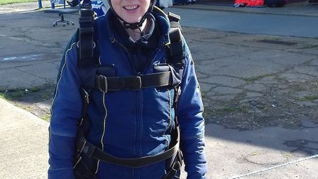 Sarah Barber back on the ground after her parachute jump. Picture: SARAH BARBER