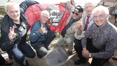 Emperor Rosko, Tony Prince, Roger Twiggy Day, Peter Antony and Alan Turner unveil the commemorative