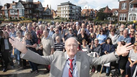 Alan Turner, who spent many years on board with Radio Caroline, in Felixstowe with fans. Picture: NI