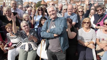 Tony Prince with some of the Radio Caroline fans who headed to Felixstowe to mark the occasion. Pict