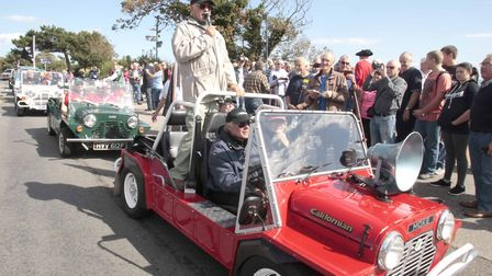 Emperor Rosko arrives in Felixstowe in a convoy of Mini Mokes to get the celebrations started. Pictu
